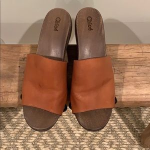 Chloe boho wood heel sandal.